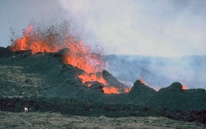 Mauna Loa Volcano - erupting and shooting spatter